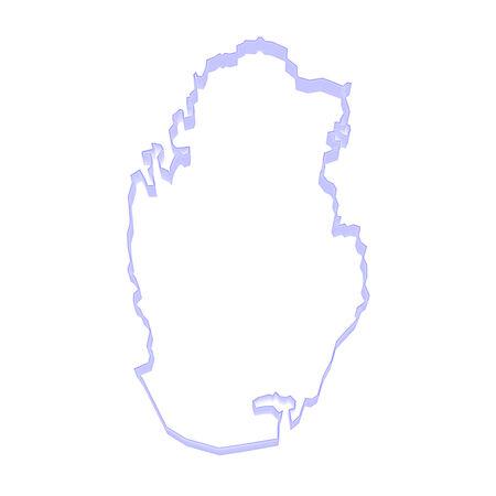 qatar: Map of Qatar. 3d