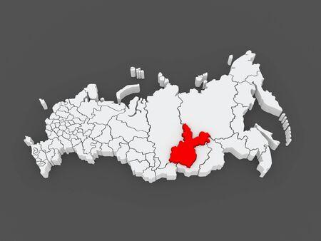 federation: Map of the Russian Federation. Irkutsk region. 3d