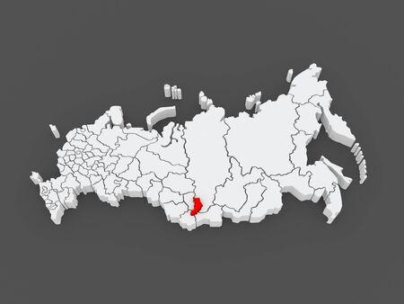 federation: Map of the Russian Federation. Republic of Khakassia. 3d