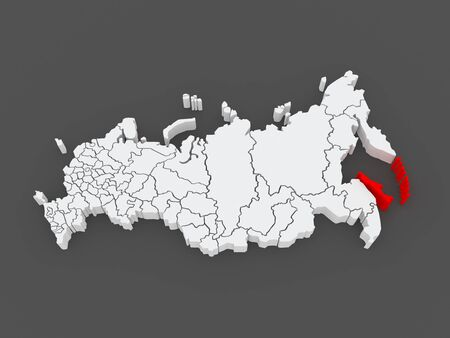 sakhalin: Map of the Russian Federation. Sakhalin Region. 3d Stock Photo