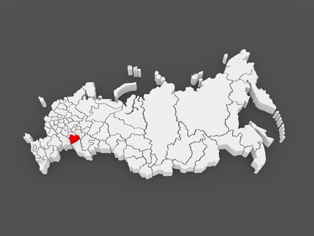 samara: Map of the Russian Federation. Samara region. 3d