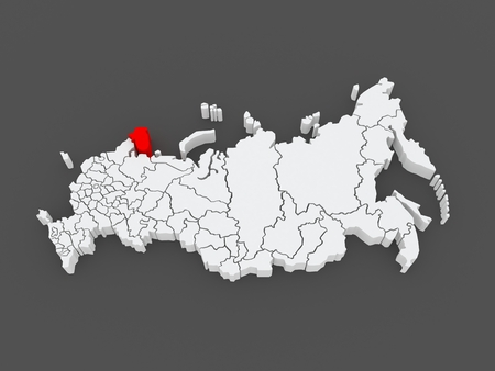 federation: Map of the Russian Federation. Murmansk region. 3d Stock Photo