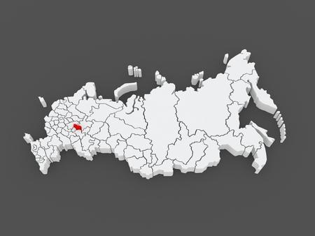 federation: Map of the Russian Federation. Republic of Mari El. 3d Stock Photo