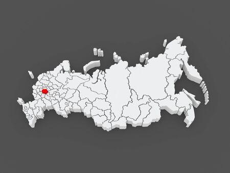federation: Map of the Russian Federation. Ryazan region. 3d