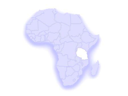 diplomacy: Map of worlds. Tanzania. 3d Stock Photo