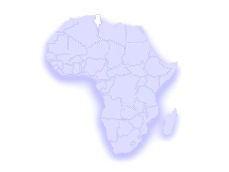 tunisia: Map of worlds. Tunisia. 3d