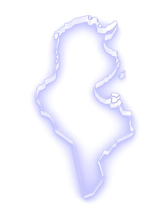 tunisia: Map of Tunisia. 3d