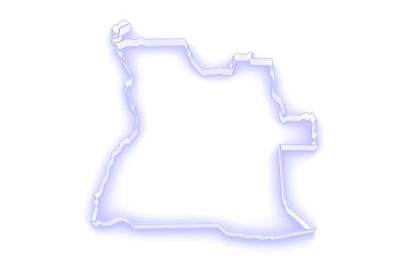 angola: Map of Angola. 3d