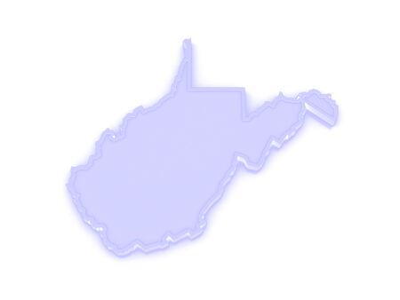 3d virginia: Three-dimensional map of West Virginia. USA. 3d