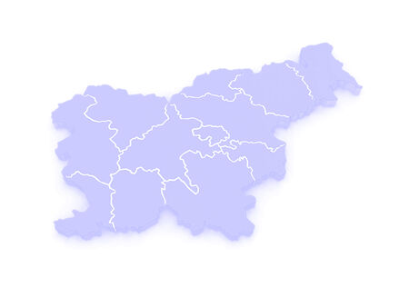 slovenia: Map of Slovenia. 3d Stock Photo