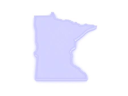 minnesota: Three-dimensional map of Minnesota. USA. 3d