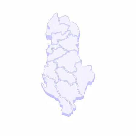 albania: Map of Albania. 3d