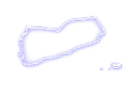yemen: Map of Yemen. 3d Stock Photo