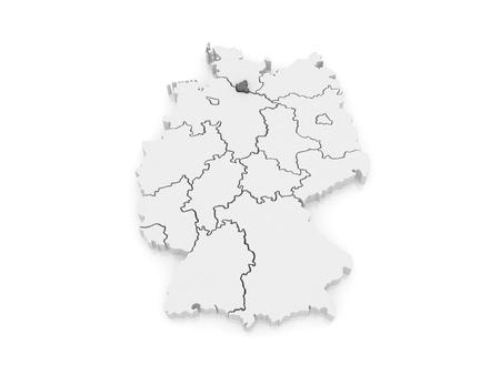 hamburg: Map of Free and Hanseatic City of Hamburg. Germany. 3d Stock Photo