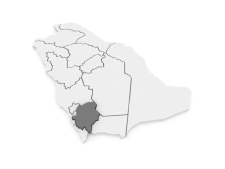 asher: Map of Asher. Saudi Arabia. 3d