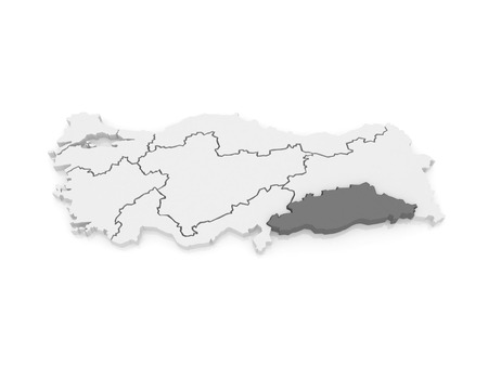 southeastern: Map of Southeastern Anatolia. Turkey.   3d