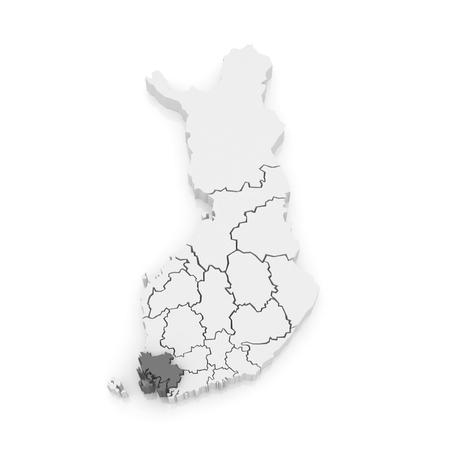 suomi: Map of Varsinais-Suomi. Finland. 3d