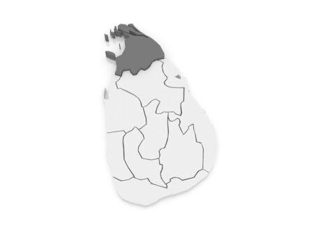 sri: Map of Northern. Sri Lanka. 3d Stock Photo