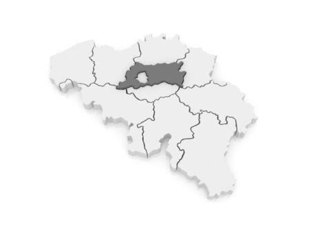 flemish: Map of Flemish Brabant. Belgium. 3d