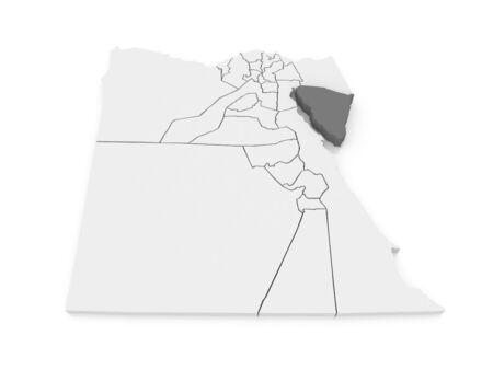 sinai: Map of South Sinai (Ganub Sina). Egypt. 3d Stock Photo
