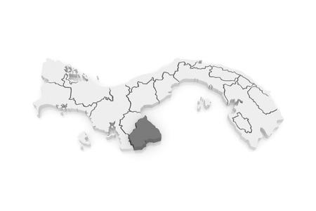 panama: Map of Los Santos. Panama. 3d