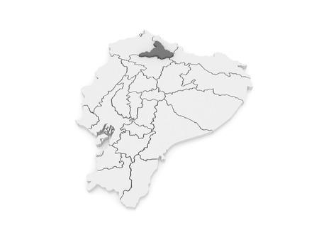 ecuador: Map of Imbabura. Ecuador. 3d