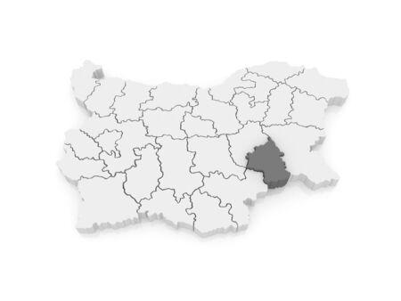 bulgaria: Map of Yambol region. Bulgaria. 3d