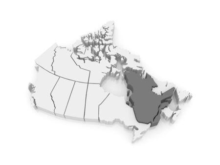 quebec: Map of Quebec. Canada. 3d