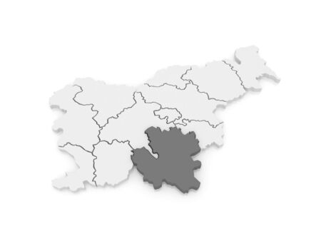 slovenia: Map of Southeast Slovenia. 3d Stock Photo