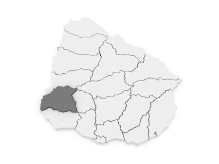 Map of Soriano. Uruguay. 3d