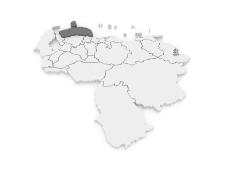 mapa de venezuela: Mapa de Falcon. Venezuela. 3d