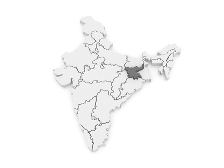 india 3d: Map of Jharkhand. India. 3d Stock Photo