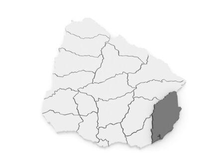 rocha: Map of Rocha. Uruguay. 3d