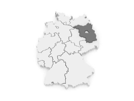 brandenburg: Map of Brandenburg. Germany. 3d Stock Photo