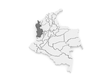 choco: Map of Choco. Colombia. 3d