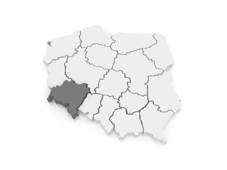 lower: Map of Lower Silesia. Poland. 3d Stock Photo
