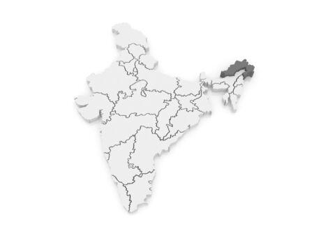 arunachal pradesh: Map of Arunachal Pradesh. India. 3d
