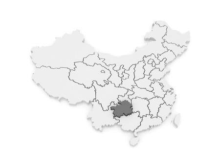 Map of Guizhou. China. 3d photo