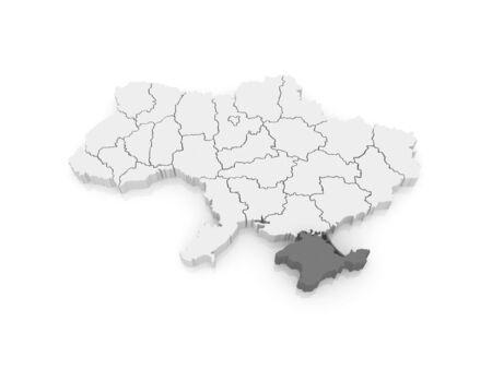 crimea: Map of Republic of Crimea. Ukraine. 3d