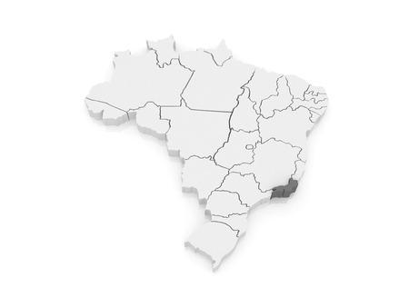 janeiro: Map of Rio de Janeiro. Brazil. 3d