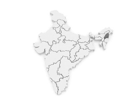 india 3d: Map of Nagaland. India. 3d