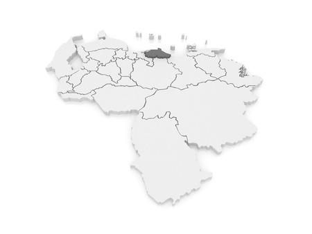 mapa de venezuela: Mapa de Miranda. Venezuela. 3d