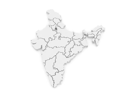 india 3d: Map of Delhi. India. 3d Stock Photo
