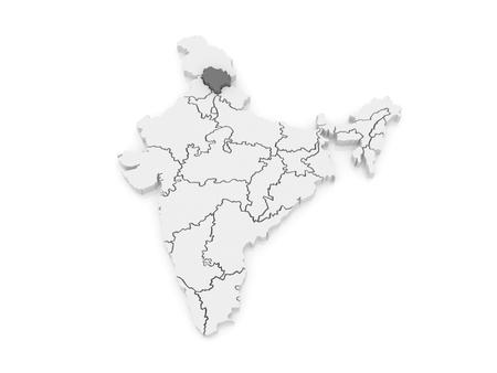 india 3d: Map of Himachal Pradesh. India. 3d