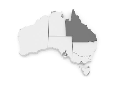 queensland: Map of Queensland. Australia. 3d