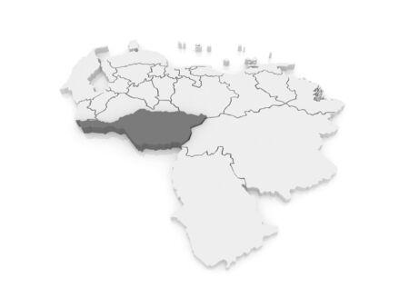 mapa de venezuela: Mapa de Apure. Venezuela. 3d Foto de archivo