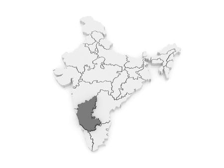 karnataka: Mapa de Karnataka. India. 3d Foto de archivo