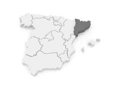 catalonia: Map of Catalonia. Spain. 3d Stock Photo