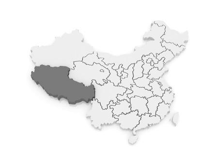 tibet: Map of Tibet. China. 3d Stock Photo