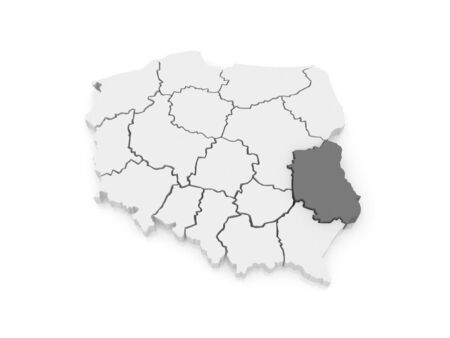 lublin: Map of Lublin Voivodeship. Poland. 3d